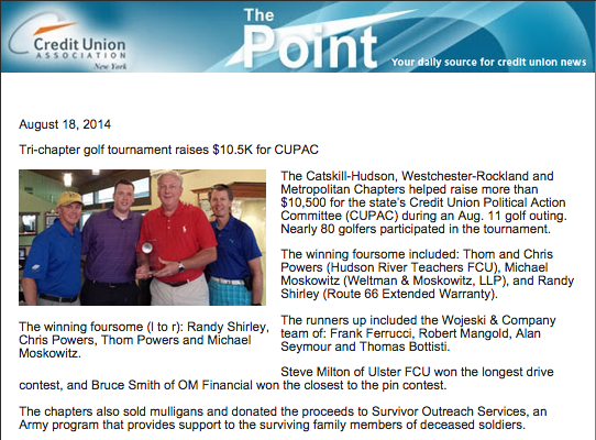 Tri-Chapter Golf Tournament Raises $10.5K for CUPAC